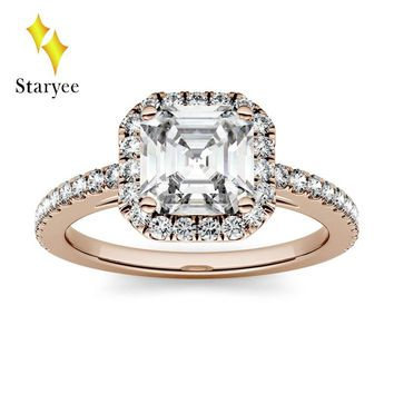 Test Positive 1.3ct 6.5mm 18k Solid Rose Gold Asscher Cut Lab Diamond Moissanite Halo Ring For Women Engagement Wedding Jewelry