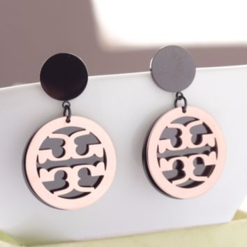 Tory burch New Fashion Round Long Section Earring Accessories Women Rose gold and black