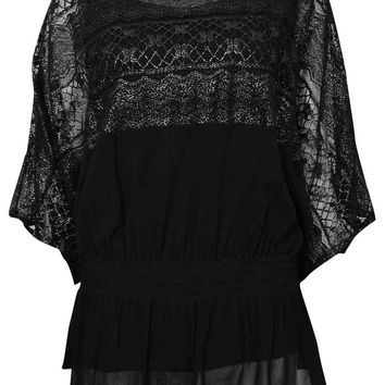Alfani Women's Metallic Dolman Lace Top