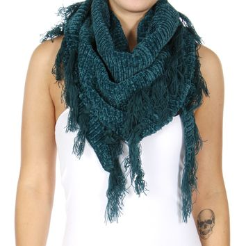 Chenille Frayed Triangle Scarf Teal