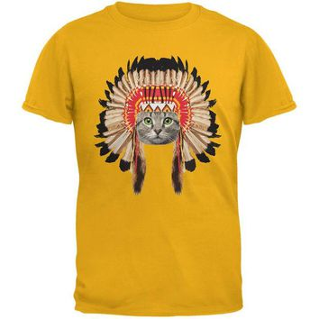 LMFCY8 Thanksgiving Funny Cat Native American Gold Youth T-Shirt
