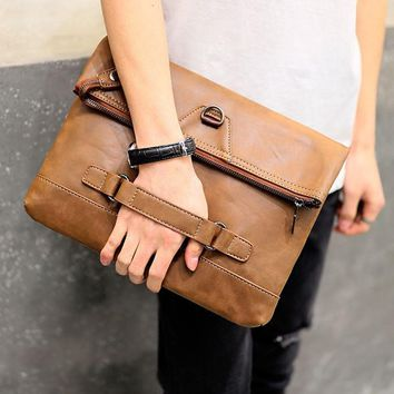 Vintage Brown Leather Men Envelope Clutch Bag