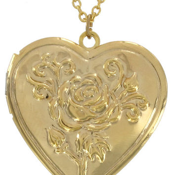 Custom Mount Heart Photo Locket Necklace Rose Design Gold Valentine Gift