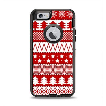 The Red and White Christmas Pattern Apple iPhone 6 Otterbox Defender Case Skin Set