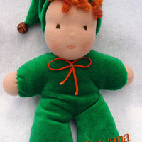 "Waldorf doll green gnome with wooden bead in his hat and orange bow , 20 sm (8""), for children and babies."