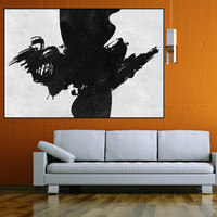 large canvas painting wall art, large abstract paintings on canvas, abstract canvas art, black white painting canvas art, large wall art
