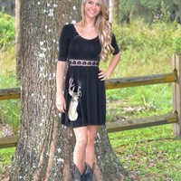 Black Deer Dress with LACE detail front