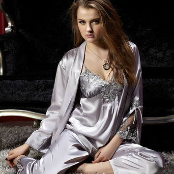 Women Pajama Sets Three Pieces V-Neck Silk Satin Sleepwear Sexy Lace Pijamas Modelos Femininos Plus Big Size XXXL Grey 8306