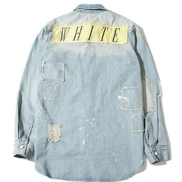spbest Off white jean shirt jacket