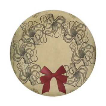 Vintage Octopus Christmas Paper Plate 7 Inch Paper Plate