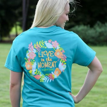 Southern Darlin Live in the Moment Flower Tropical Bright Girlie T-Shirt