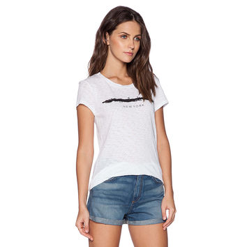 White New York Print Graphic Tee