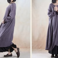 women maxi dress linen dress loosr dress winter dress  Casual dress/Loose Fitting dress/Long Sleeve dress autumn clothing plus size dress