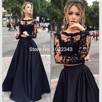 Elegant Black Satin A- Line Boat Neck Two Piece Lace Long Prom Dresses 2016  Long Sleeves  Floor Length Prom Dress SML32803