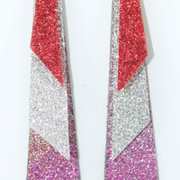 Pink Silver & Red Glitterati Leather Earrings by LeatherCoutureLV