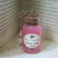 Prince Charmings True Love Fairytale themed Bottled Charm Keyring, Pink
