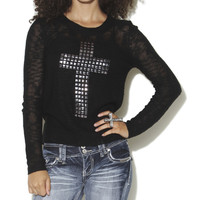 Slub Studded Cross Sweater | Shop Sweaters at Wet Seal