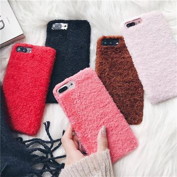 Warm Fur Phone Case for iPhone X 7 7 Plus 8 8 Plus 6 6 Plus