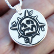 Skull Compass, Sterling Silver necklace, Skull necklace, Memento Mori Jewelry for men and women