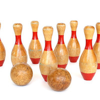 Skittles Game - Vintage Game - Bowling Game - 9 Pin Bowling - Wooden Bowling Pins - Vintage Toy - Game Room Decor - Fun Office Decor -