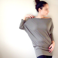 Grey Cotton Shirt Dolman Oversized Grey  Shirt / Tunic by onor