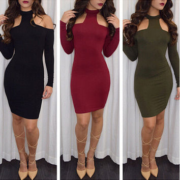 Winter Strapless Long Sleeve Sexy One Piece Dress [6339083713]