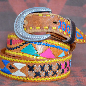 Vintage Ethnic Mexican Guatemalan Hippie Leather Belt