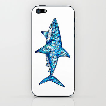 Shark iPhone & iPod Skin by Kate Fitzpatrick