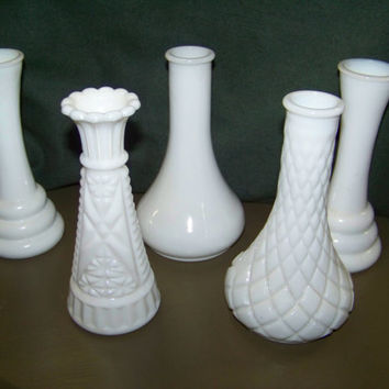 Vintage 5 Small Milk Glass Bud Vases...Instant Collection...Country Wedding Decor...Shabby Style...Cottage Chic..Valentines Day Gift