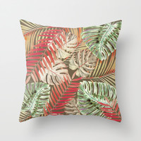 Jungle Tangle Red On Brown Throw Pillow by ALLY COXON