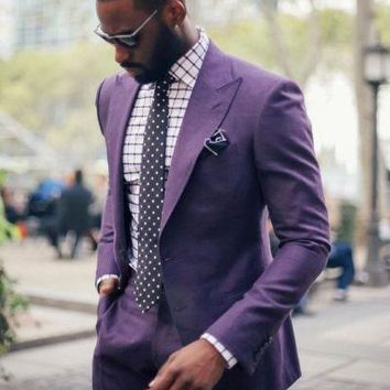 Purple Peaked Lapel Two Buttons Men Suits 2 Pieces Custome Homme Fashion Blazer Terno Slim Fit New Tuxedos For Men(Jacket+Pants)