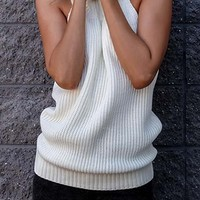 Melrose Stroll White Sleeveless Turtleneck Halter Backless Pullover Sweater