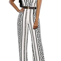 Gianni Classy Versace Print Inspired Black and White Belted Cocktail Jumpsuit -White