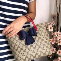 GUCCI Women / Girls GG Supreme bow tote