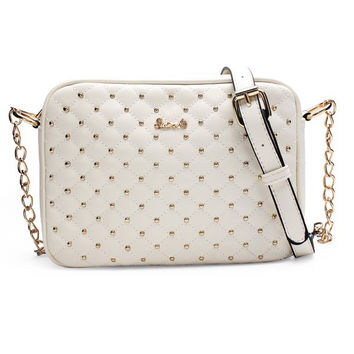 Women Rivet Chain Quilted Plaid Leather Tote Crossbody Bag