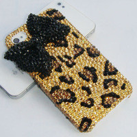 Sparkly iphone case gold rhinestone Leopard with black by AliPshop