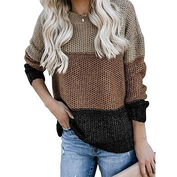 Striped Colorblock Crocheted Knitting Sweater