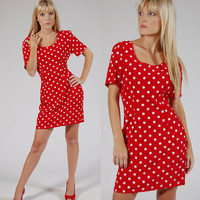 1980s POLKA DOT Mini Dress Red Lucy Day Dress by LotusvintageNY