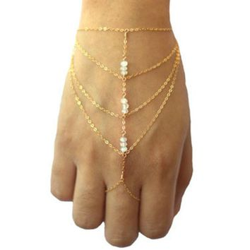 New Women Chains Link Ring Tassel Bracelet Bangle Finger Wrist Chain