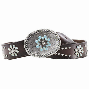 Ariat Women's Western Snowflake Turquoise Chocolate Leather Belt