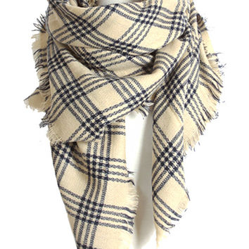 Plaid Oversized Blanket Scarf - Ivory