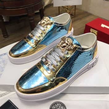 Versace Blue/Gold Women Men Fashion Sneakers Sport Shoes