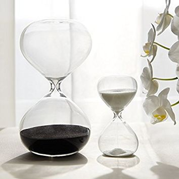 30 & 5 Minute Gravity Hourglasses - Time Management Set - Deep Black & Snow White
