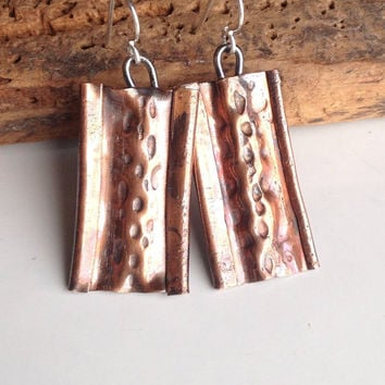 Air Chased Copper Earrings, Air Chasing, Metalwork Earrings, Dangle Earrings, Artisan Earrings, Industrial Earrings, Form Folded