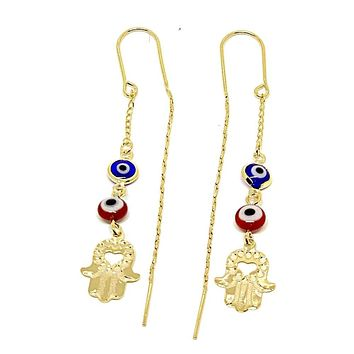 Hamsa Hand Red and Blue Evil Eye Threaders Earrings 18K of Gold-Filled