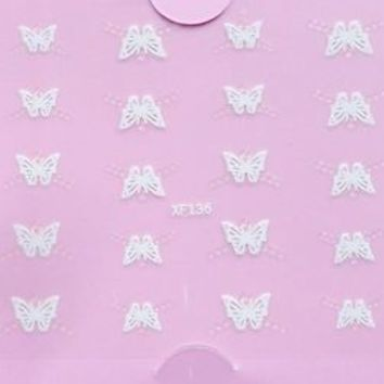 3D Nail Art Stickers Decals Transfers Wrap Lace White Butterfly Crystals #87