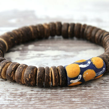 African Bracelet Tribal African Glass Beads Coconut Wood Yoga Bracelet Ethnic Jewelry Optional Keychain Bracelet African Gifts Under 20