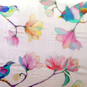 Handpainted shawl Flower birds scarves Bird painting Square scarf silk Hand painted silk Batik Wedding shawl Womens gift f her birthday gift