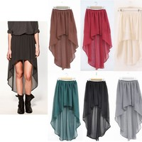 Brand New Long Asymmetrical Sheer Chiffon Skirt