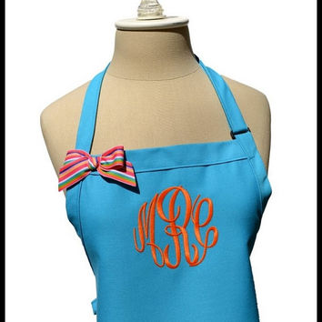 Turquoise Blue Gourmet Monogrammed Apron - Personalized Chefs Gift Idea Orange Summer Ribbon Bakers Womens Wedding Bridal bridemaids